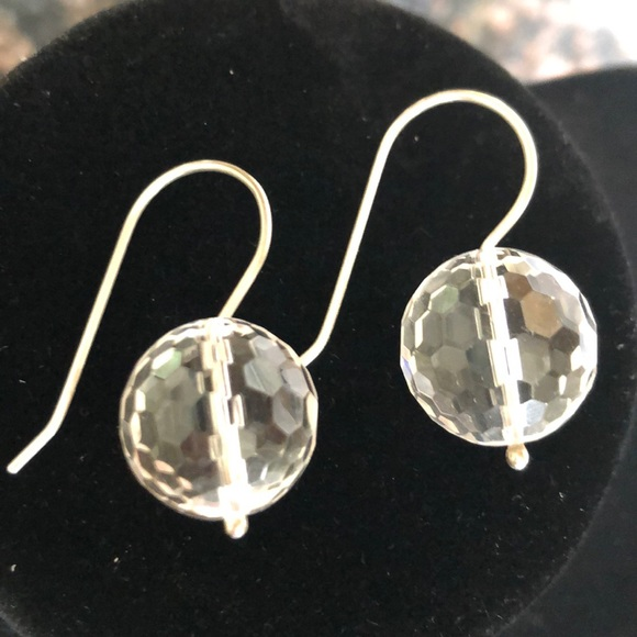 e472b9e677d12 Swarovski Crystal Disco/golf Ball silver earrings